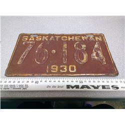 1930 SASKATCHEWAN LICENSE PLATE 76-184