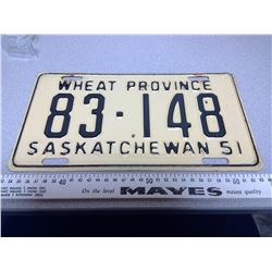 1951 SASKATCHEWAN LICENSE PLATE 83-148