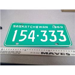 1969  SASKATCHEWAN LICENSE PLATE 154-333