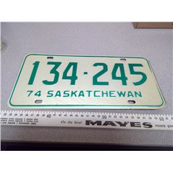 1974 SASKATCHEWAN LICENSE PLATE 134-245