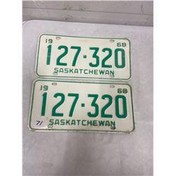 1968 Pair Saskatchewan Licence Plates