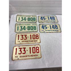 3 Pair Saskatchewan Licence Plates