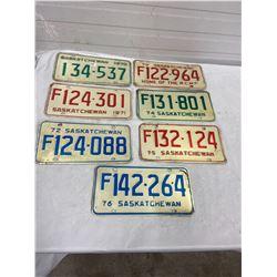 7 Saskatchewan Licence Plates
