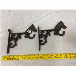 2 Cast Metal Horse Hooks
