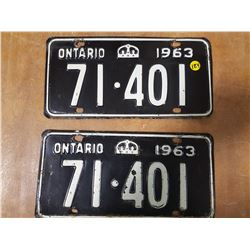 Matched Pair 1963 Ontario Plates