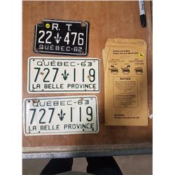 Matched Pair 1963 Quebec Plates