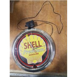 "Shell Oil Neon Clock 15"" Wide (Working)"
