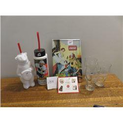 Coke items- Gretzky, Atlanta Olympic pins, NHL glasses etc.