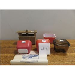 Butter press, 4 butter refrigerator dishes - one lid