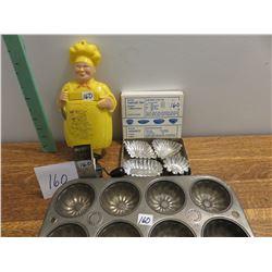 Happy chef nutmeg grinder, old muffin tin, tart maker