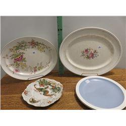 2 English platters, 1 phoenix dish, 2 wedgewood plates