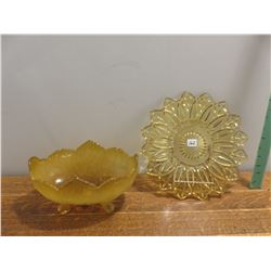 golden footed fruit bowl, golden yellow dish