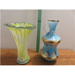 "Green yellow case, blue vase jug, 12"" tall"