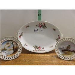 "Occupied Japan platter, 2 occupied Japan 8"" lattice plates"