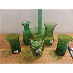 5 green vases