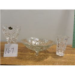 footed glass bowl, 2 crystal pieces