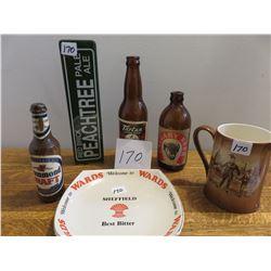 Wards beer plate, English stein, 2 beer taps, Calgary beer