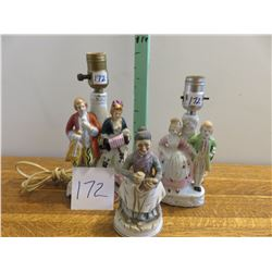 2 English court lamps, 1 old lady