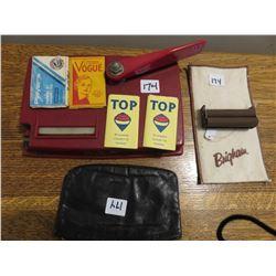Cigarette machines, 1 cigarette rolls/papers, tobacco pouch