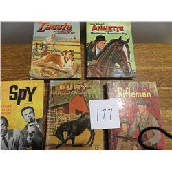 Childrens books, fury, lassie, rifle man, I spy, Annette