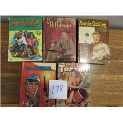Childrens books, Rebel, Tarzan, Annie Oakley, Rifleman, Huckleberry Finn