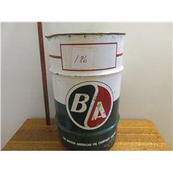 13 Gallon BA oil barrel, red & green logo