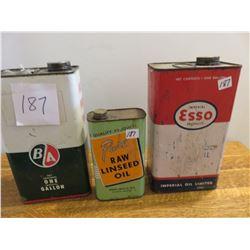 1 BA gallon, 1 Esso gallon, 1 quart linseed oil