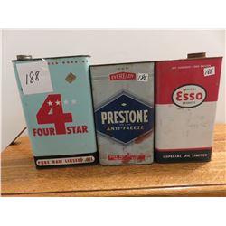 1 gallon Esso, 1 gallon Prestone Eveready antifreeze, 1 gallon 4 star linseed