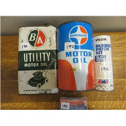B.A. quart oil, Royalty oil quart - Victor rubber patch, Norco kit patch