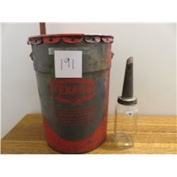 Texaco 5 gallon can - quart oil sealer with old filter spout