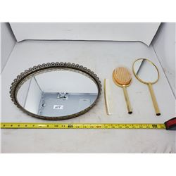 COMB BRUSH, MIRROR SET ON OVAL MIRROR BASE
