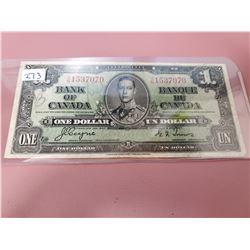 1937 Canadian $1.00 bill