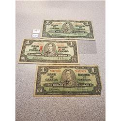 3 1937 Canadian $1.00 bills