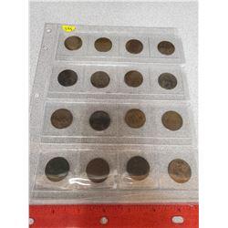 16 British half pennies (various dates)