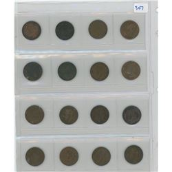 1 SHEET OF VARIOUS COINS LOT OF 16