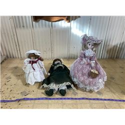 3 COLLECTABLE VICTORIAN STYLE DOLLS
