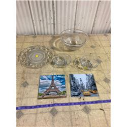 3 CLEAR GLASS BOWLS + CLEAR GLASS TRAY/SERVING DISH + 2 GLASS PICTURES