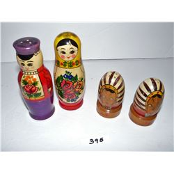 Russian Wooden Doll & Wooden Salt & Pepper Shakers