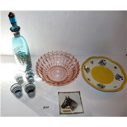 Decanter, Bowl, Plate, Horse Trinket Dish