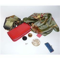 Picasso & Horse Scarves (has some holes), Compact Mirror, Blush, Sewing Kit, Travel Kit