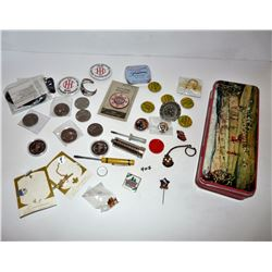 Ass't. Pins, Tokens, Tin, etc.