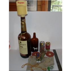 Seagram's 133.2 oz.,(3.78L) Bottle, White Horse Scotch Bottle, Pheasant, Canvas Canteen, Teacher's S