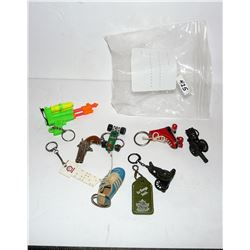 Key Chains - Cannons, Car, Roller Skate, Shoe, Watergun, Derringer, Shell, Penny