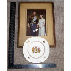 King George VI, Queen Elizabeth Picture & Elizabeth II Coronation Plate