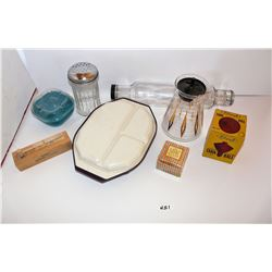 Rolling Pin, Butter/Cookie Press, Anchor Hocking Lunch Container, Gemco Glass, Parmesan Shaker,  Fit