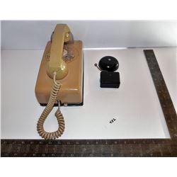 Beige Wall Telephone & Western Electric Telephone Bell