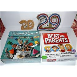 Beat the Parents, Trivial Pursuit (New Sealed), Wooden Cribbage, Plastice Cribbage (New, Sealed)