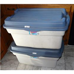 Two (2) Used Rubbermaid Totes - 28 US Gallon; 106 Litre