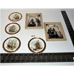 Two (2) Victorian Silhouette Pictures; Four (4) Small Royal Grafton Wall Hanging Plates Ships