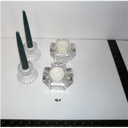 Two (2) Sets Crystal Candle Holders - One Orrefors Sweden